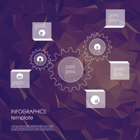 global settings: Infographics template with business icons and gears as a symbol of industry and engineering. Statistics data presentation. Menu options on low poly polygonal background. Eps10 vector illustration.
