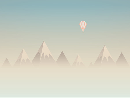 above clouds: Low poly mountains landscape vector background with balloon flying above clouds or mist. Symbol of exploration, discovery and outdoor adventures. Eps10 vector illustration.