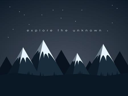 mision: Bajo montañas poli paisaje nocturno vector de fondo con estrellas en el cielo. Símbolo de la exploración, el descubrimiento y aventuras al aire libre. Ilustración vectorial Eps10. Vectores