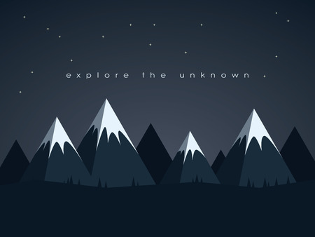 Low poly mountains night landscape vector background with stars in the sky. Symbol of exploration, discovery and outdoor adventures. Eps10 vector illustration.