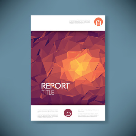 fire: Report cover template with 3d low poly vector background. Business brochure or presentation title page. Eps10 vector illustration.