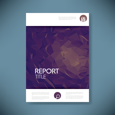 title page: Report cover template with 3d low poly vector background. Business brochure or presentation title page. Eps10 vector illustration.
