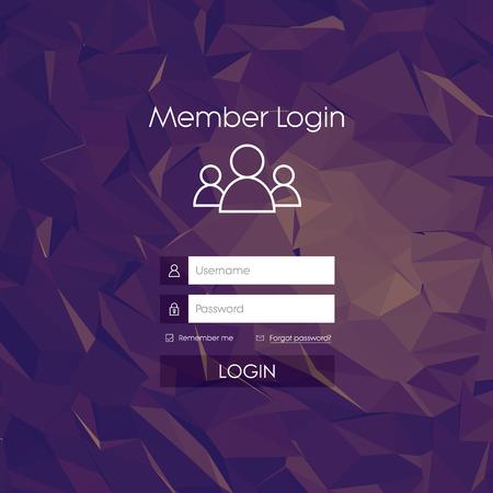 シンプルなラインのアイコンとログイン フォーム メニュー。低ポリ背景。Web デザインのためのウェブサイトの要素。  ベクトル イラスト。