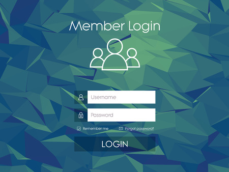 sign in: Login form menu with simple line icons. Low poly background. Website element for your web design.   vector illustration.