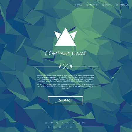 website template: Website landing page template with set of line icons user interface and green low poly background.   vector illustration