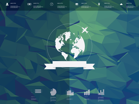 low poly: Low poly infographics template user interface with globe badge and ribbon element. Low poly background. Travel infographics icons for websites or presentations.   vector illustration.
