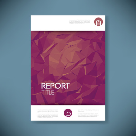 Report Cover Template With 3d Low Poly Vector Background. Business Brochure  Or Presentation Title Page  Business Report Cover Page