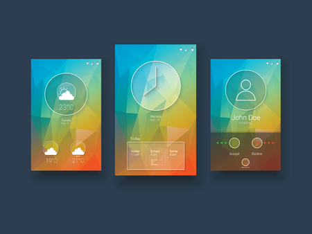 low poly: Modern mobile user interface template with smartphone screens on green low poly vector background.   vector illustration. Illustration