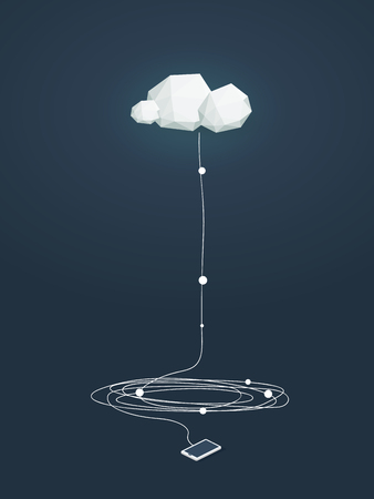 Cloud computing concept illustratie met een laag poly wolken en smartphone verbonden. Data storage-infrastructuur. vector illustratie.
