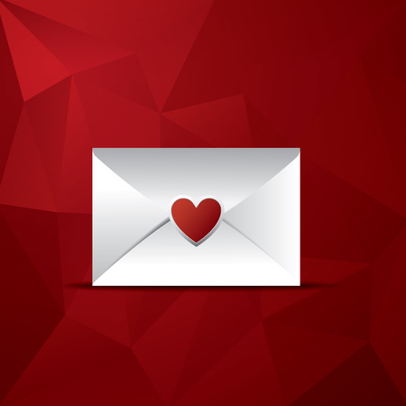 romance love: Valentine envelope with heart as symbol of romance and love. Red low poly background.   vector illustration.