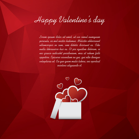 hearts background: Valentines day card concept with presents or gifts and hearts flying out. Red low poly background.   vector illustration.