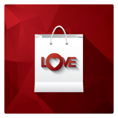 shopping mall: Valentines day sale with shopping bag as a symbol for discounts on red low poly background.   vector illustration.
