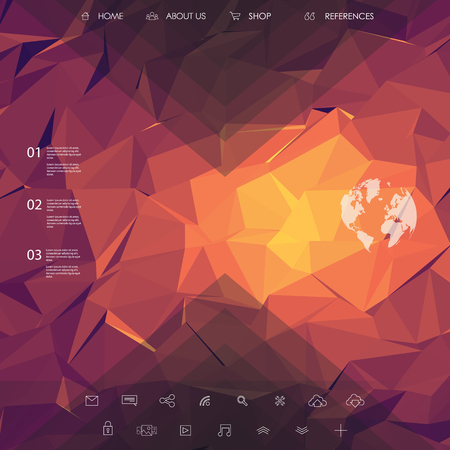 site backgrounds: Website landing page template with set of line icons user interface and orange, pink, purple low poly background.   vector illustration.