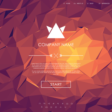site backgrounds: Website landing page template with set of line icons user interface and orange, pink, purple, hot low poly background.   vector illustration.