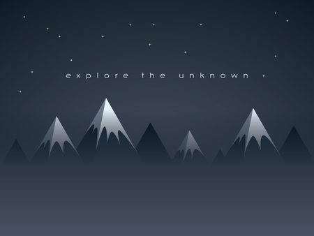 discovery: Low poly mountains night landscape vector background with stars in the sky. Symbol of exploration, discovery and outdoor adventures.   vector illustration.