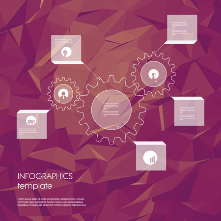 worldwide website: Infographics template with business icons and gears as a symbol of industry, engineering. Statistics data presentation. Menu options on low poly polygonal background.   vector illustration. Illustration