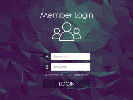 web design background: Login form menu with simple line icons. Low poly background. Website element for your web design.   vector illustration.
