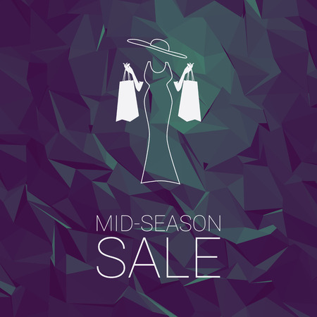 Sales banner mid season template with woman shopping fashion, space for promotional text. Sale poster tag special offers advertising.   vector illustration.