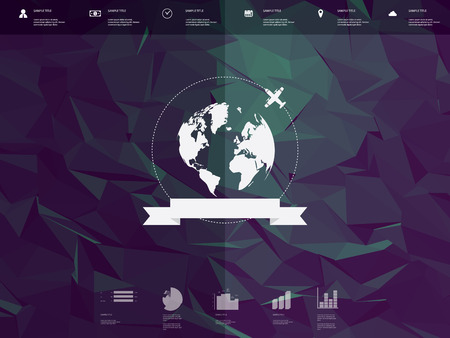 worldwide website: Low poly infographics template user interface with globe badge and ribbon element. Low-poly background. Travel infographic icons for websites or presentations.   vector illustration.