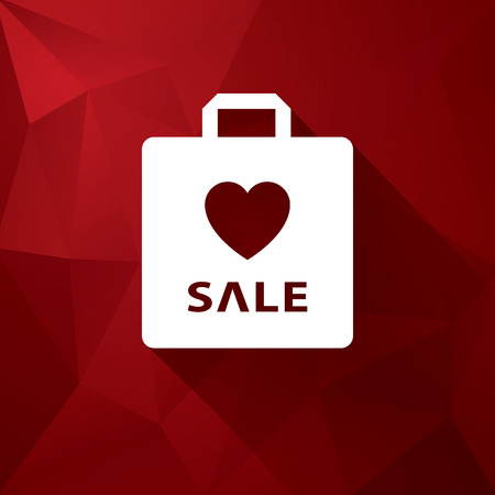 heart background: Valentines day sales vector illustration suitable for advertising or as a web element, etc. Low poly red vector background and shopping bag. Eps10 vector illustration. Illustration