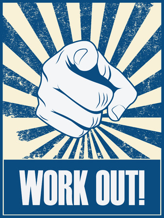 work out: New year resolution motivation poster to work out and do exercise, fitness.  vector illustration.