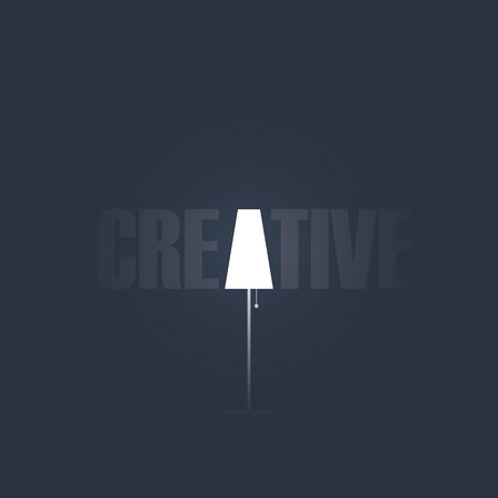 creativity symbol: Creativity concept with creative typography and symbol of lamp.