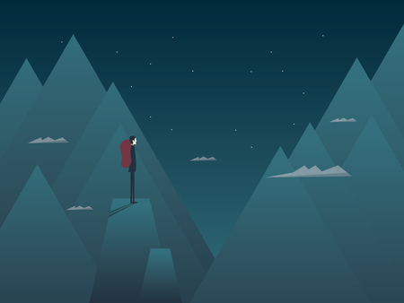 Man and mountains concept of hiking, climbing or mountaineering. Person with backpack at night on top of peaks. Eps10 vector illustration.