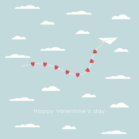 above clouds: Valentines day card template with paper plane and hearts symbol flying above clouds in the sky. Eps10 vector illustration. Illustration