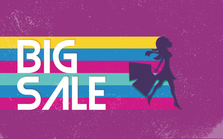 fashion shopping: Big sale poster with woman shopping for fashion clothes.