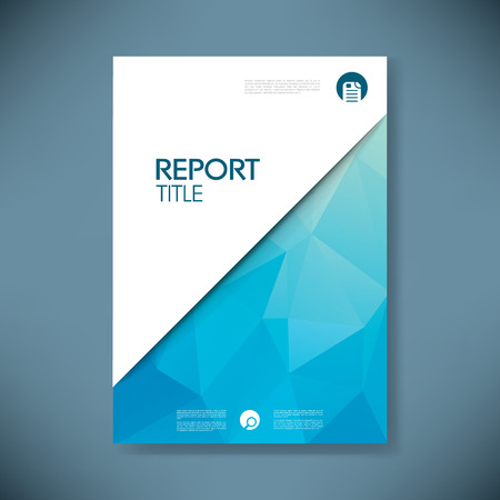 Business report cover with low poly design vector background. Stock Illustratie