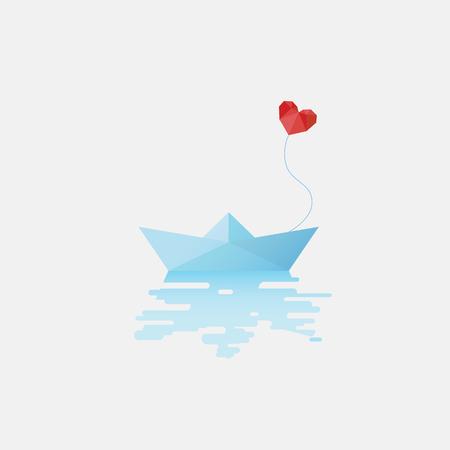 barche: Barca di carta con cuore rosso a forma di fumetto come simbolo di amore. modello di scheda di San Valentino. illustrazione vettoriale eps10.