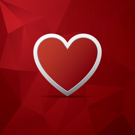 Rotes Herz als Symbol der Liebe auf Low-Poly-Vektor Hintergrund. Valentinstag-Karte Vorlage.