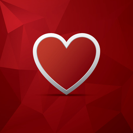 Red heart as symbol of love on low poly vector background. Valentines day card template.