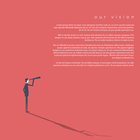 Businessman looking through monoculars as a symbol of business vision, plan, strategy.