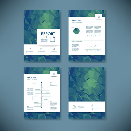 projects: Business report template with low poly background. Illustration