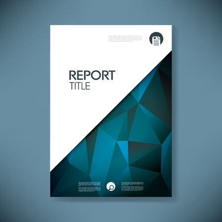 Report cover template with low poly background. Business brochure document layout for company presentations. Vectores