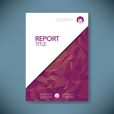 Business report cover with low poly design vector background. Vettoriali
