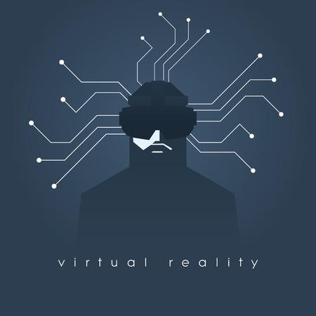 男とヘッドセットのメガネと仮想現実のコンセプト イラスト。