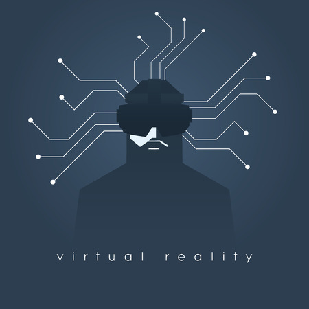 headset symbol: Virtual reality concept illustration with man and headset glasses. Illustration
