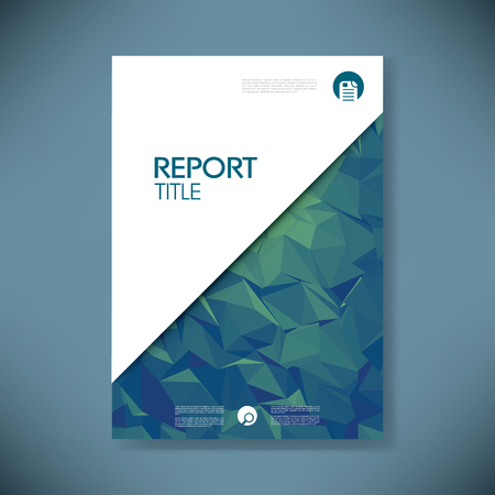 Business report cover template on green low poly background. Brochure or presentation title page.