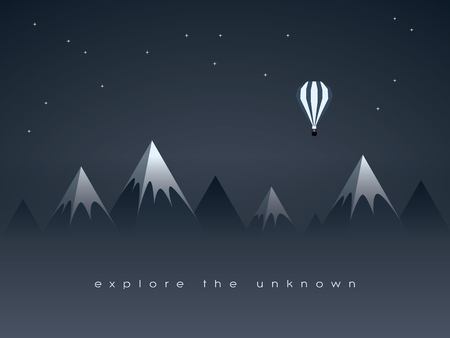 low poly: Low poly mountains night landscape and flying balloon