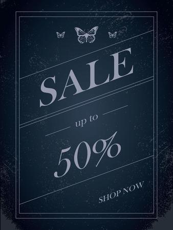 skewed: Sales banner on dark background with elegant typography for luxury sales offers in fashion. Vintage grunge discounts background. Eps10 vector illustration.