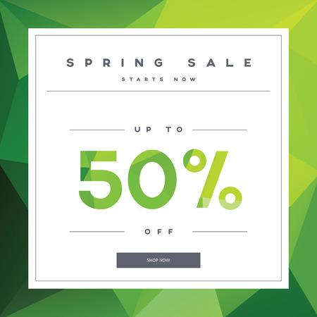 Bandera del resorte de ventas en el fondo verde de baja poli con la tipografía elegante para ofertas de venta de lujo de la moda. simple moderno, un diseño minimalista. eps10 ilustración vectorial.