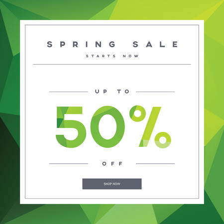 spring sale: Spring sales banner on green low poly background with elegant typography for luxury sales offers in fashion. Modern simple, minimalistic design. Eps10 vector illustration.