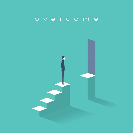 interruption: Business challenge concept with man standing on stairs. Goal or target behind obstacle. Eps10 vector illustration.