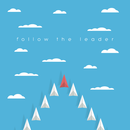 red sky: Low poly paper plane business leadership concept with red airplane and white flying in squadron in the sky. Success, mission, project management symbol. Eps10 vector illustration. Illustration