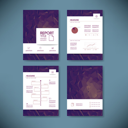 Business annual report template with infographics data analysis layout for presentation. Finance icons and graphs  with pie chart, timeline on low poly background. Eps10 vector illustration.