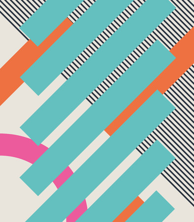 '80s: Abstract retro 80s background with geometric shapes and pattern. Material design. Eps10 vector illustration.