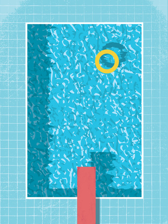 Swimming pool top view with inflatable ring preserver and red jump. 80s style vintage graphic design with grunge background. Eps10 vector illustration. Иллюстрация