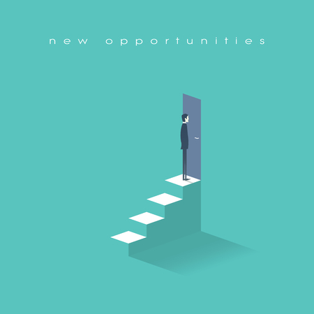 standing businessman: New opportunities concept vector background with businessman standing in front of door on top of stairs. Career ladder conceptual illustration. Eps10 vector illustration. Illustration
